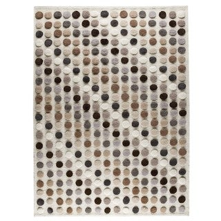 Hand-knotted Indo Smarties Natural/ Multi Rug (4'6 x 6'6)