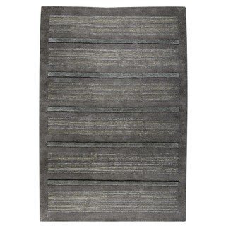 M.A.Trading Hand-knotted Indo Boston Dark Grey Rug (4'6 x 6'6)