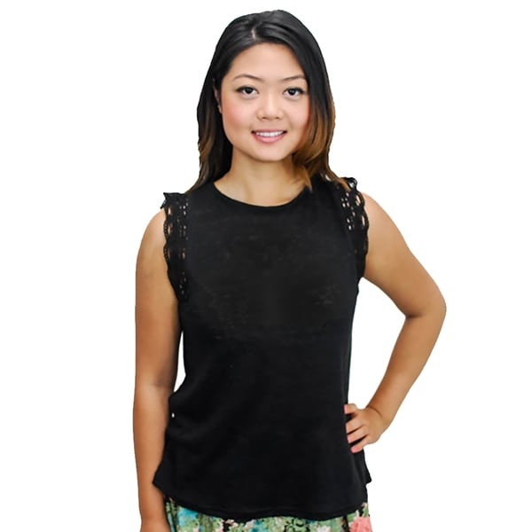 Relished Lace Knit Sleeveless Top