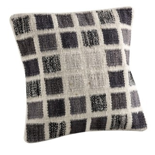 Hand-woven Indo Dominico White/ Grey Pillow (24-inch x 24-inch)