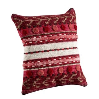 M.A.Trading Hand-woven Indo Abramo Red Pillow (24-inch x 24-inch)