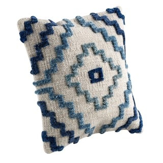 M.A.Trading Hand-woven Indo Vitale Blue Pillow (18-inch x 18-inch)