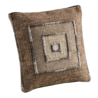Hand-woven Indo Ermanno Beige/ Grey Pillow (16-inch x 16-inch)
