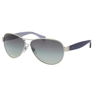 Ralph by Ralph Lauren RA 4096 102/11 Light Silver Metal Aviator Sunglasses Grey Gradient Lens