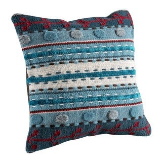 Hand-woven Indo Abramo Turquoise Pillow (18-inch x 18-inch)