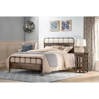 Grayson Traditional Rubbed Black Finish Metal Queen / King Bed Frame