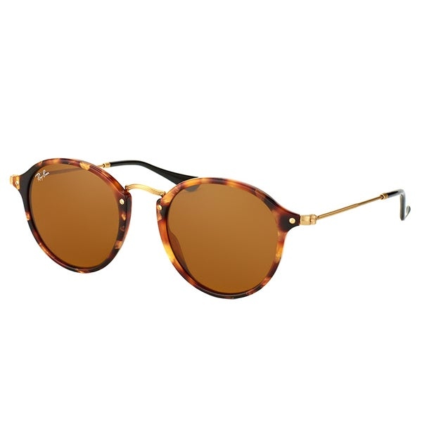 Ray-Ban RB 2447 1160 Spotted Brown Havana Plastic Round Sunglasses Brown Lens