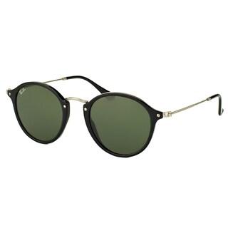 Ray-Ban RB 2447 901 Black Plastic Round Sunglasses Green Lens