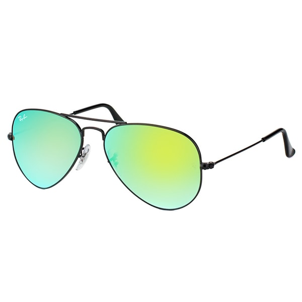 Ray-Ban RB 3025 002/4J Classic Aviator Shiny Black Metal Sunglasses Green Gradient Mirror Lens