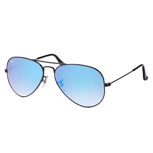 Ray-Ban RB 3025 002/4O Classic Aviator Shiny Black Metal Sunglasses Blue Gradient Mirror Lens