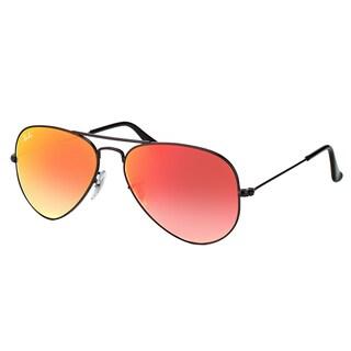 Ray-Ban RB 3025 002/4W Classic Aviator Shiny Black Metal Aviator Sunglasses Red Gradient Mirror Lens