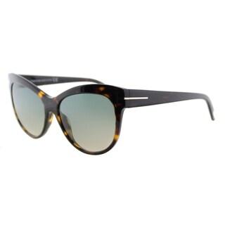 Tom Ford Lily TF 430 52P Havana Cat-Eye Plastic Sunglasses