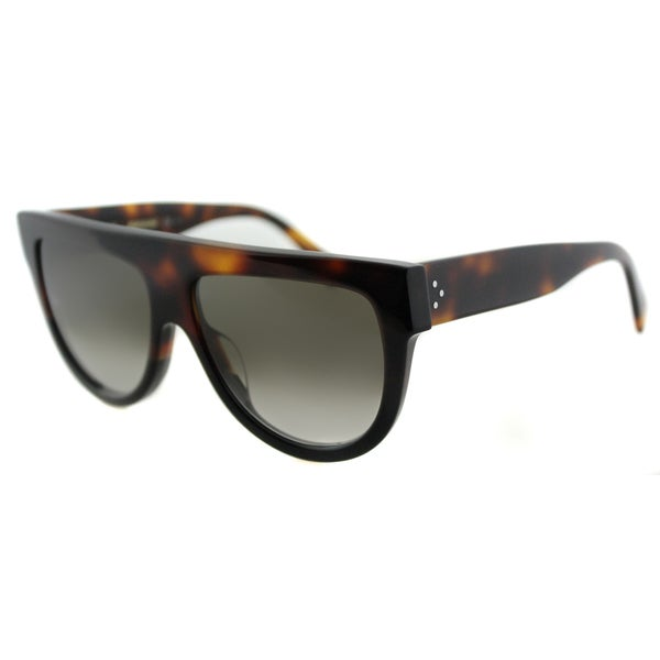 Celine CL 41026 Shadow AEA Flatop Havana Brown Plastic Fashion Sunglasses Brown Gradient Lens