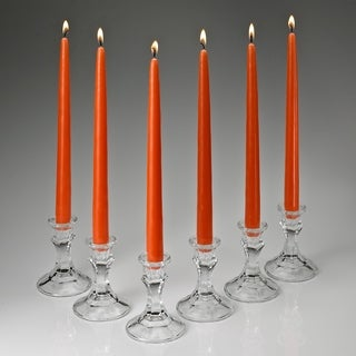 Orange Taper Candles 12 Inch Tall Burn 10 Hours Set Of 12