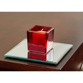 5 Inch Square Mirror Candle Plate with Bevelled Edge set of 12