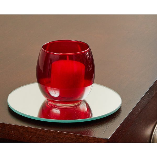5 Inch Round Mirror Candle Plate with Round Edge set of 12
