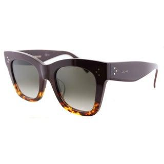 Celine CL 41098 /F/S Cathrine Small AEV Burgundy Havana Plastic Square Sunglasses Brown Gradient Lens