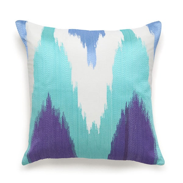 Amy Sia Painterly Flame Stitch Embroidered Square Decorative Pillow