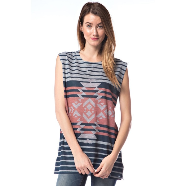 Orange Creek Striped Tribal Print Basic T-Shirt