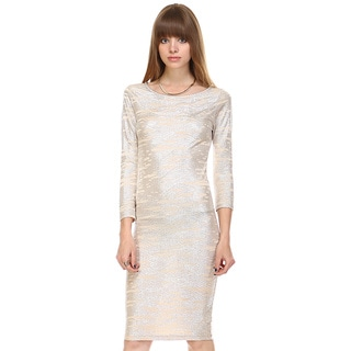 Tea n Rose Gold Foil Fitted 3/4 Sleeve Bodycon Dress