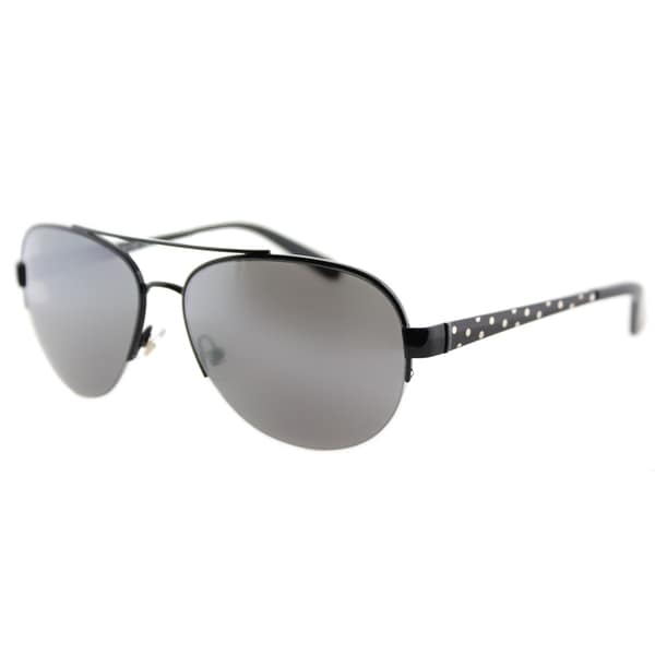 Kate Spade KS Marion 006 Shiny Black Metal Aviator Sunglasses Silver Mirror Lens