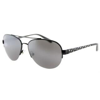 Kate Spade KS Marion 006 Shiny Black Metal Aviator Sunglasses Silver Mirror Lens