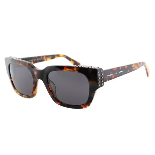 Marc by Marc Jacobs MMJ 485/Studs LO7 Square Cat Eye Havana Plastic Cat-Eye Sunglasses Grey Lens