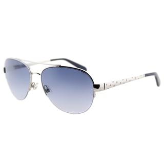Kate Spade KS Marion YB7 Silver Metal Aviator Sunglasses Blue Gradient Lens