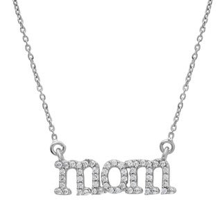 Sterling Essentials Silver Cubic Zirconia Adjustable 'Mom' Necklace