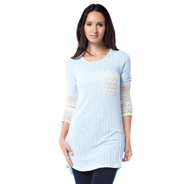 Tea n Rose Ribbed Crochet Contrast Cuff Tunic 17930208