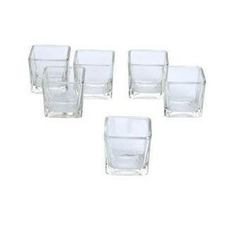 Clear Glass Square Votive Candle Holders (Set of 36)