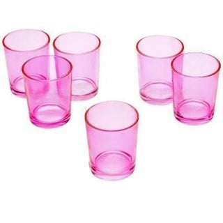 Pink Glass Round Votive Candle Holders (Pack of 12)