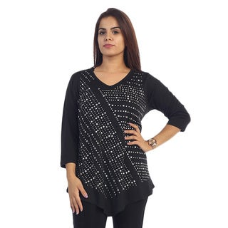 Women's Plus Size Long Sleeve Top with Rhinestones