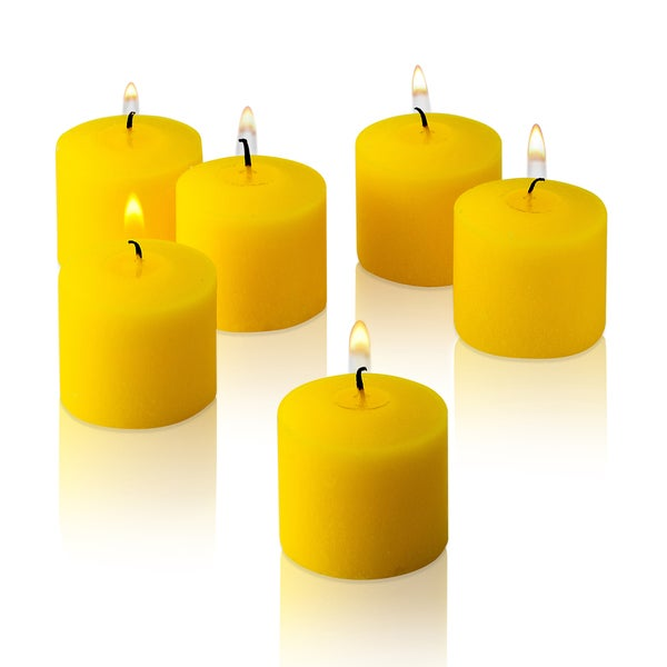 Yellow Unscented Votive Candles Set of 72 Burn 10 Hours