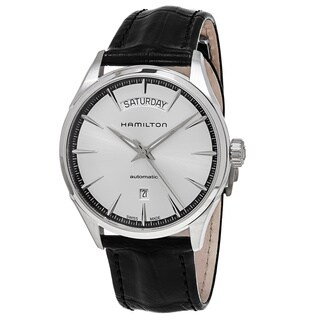 Hamilton Men's H42565751 'Jazzmaster' Silver Dial Black Leather Strap Day Date Swiss Automatic Watch