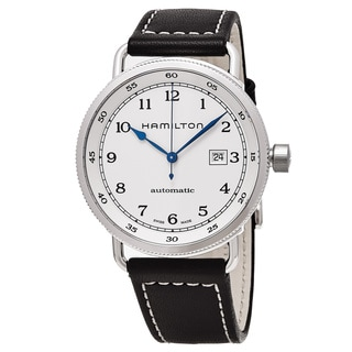 Hamilton Men's H77715553 'Khaki Navy' White Dial Brown Leather Strap Pioneer Swiss Automatic Watch