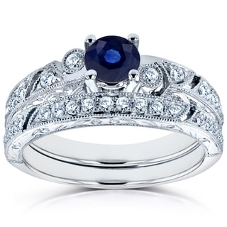 Annello 14k White Gold Sapphire and 1/3ct TDW Diamond Filigree Milgrain Bridal Set (H-I, I1-I2)