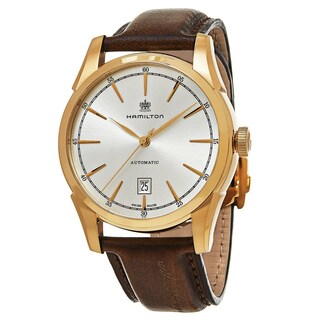 Hamilton Men's H42445551 'American Classic' Silver Dial Brown Leather Strap Spirit of Liberty Swiss Automatic Watch