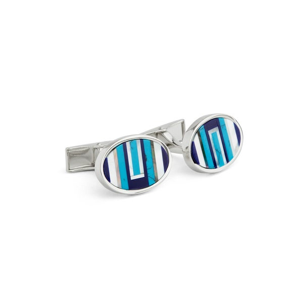 Blue Stripe Cuff Links