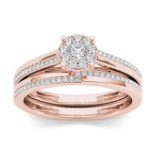 De Couer 10k Rose Gold 1/3ct TDW Diamond Cluster Engagement Ring Set with One Band (H-I, I2)