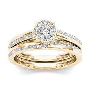 De Couer 10k Yellow Gold 1/3ct TDW Diamond Cluster Engagement Ring Set with One Band (H-I, I2)