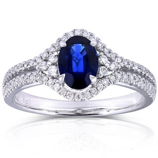 Annello 14k White Gold 1 1/3ct TCW Oval Sapphire and Diamond Split Shank Ring (H-I, I1-I2)