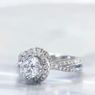 Lihara and Co. 18k White Gold 2/5ct TDW Semi-mount Diamond Engagement Ring (G-H, VS1-VS2)
