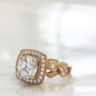 Lihara and Co. 18k Rose Gold 1/4ct TDW Semi-mount Diamond Engagement Ring (G-H, VS1-VS2)