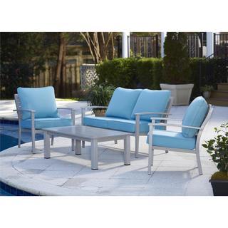 Avenue Greene 4-piece Blue Veil Aluminum Patio Conversation Set with Coffee Table
