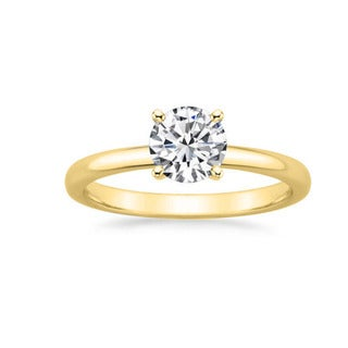 14k Gold 1 1/6ct TDW GIA Certified Round-cut Diamond Engagement Ring (F, VS2)