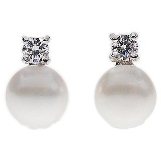 Kabella Jewelry Sterling Silver Freshwater Button Pearl Cubic Zirconia Stud Earring (7mm)