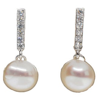 Kabella Sterling Silver Button Freshwater Pearl and Cubic Zirconia Dangling Earring