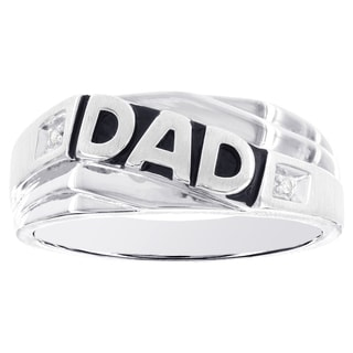 H Star Sterling Silver Diamond Accent 'Dad' Ring (H-I, SI2-SI3)