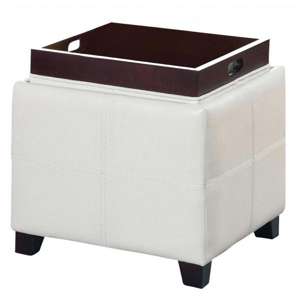 Anton II Storage Ottoman with Reversible Tray in White(As Is Item) 17934756